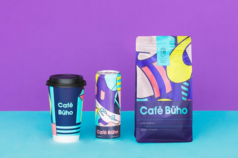 cafe buho coffee packaging colorful design