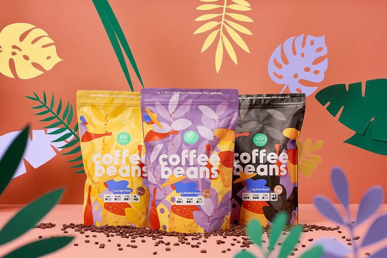 coffee beans brand colorful packagind design