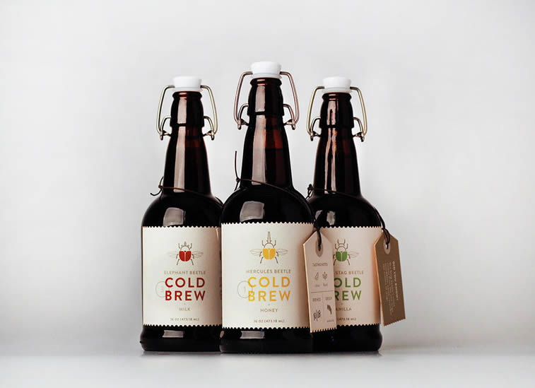 cold brew coffee bottle packaging design