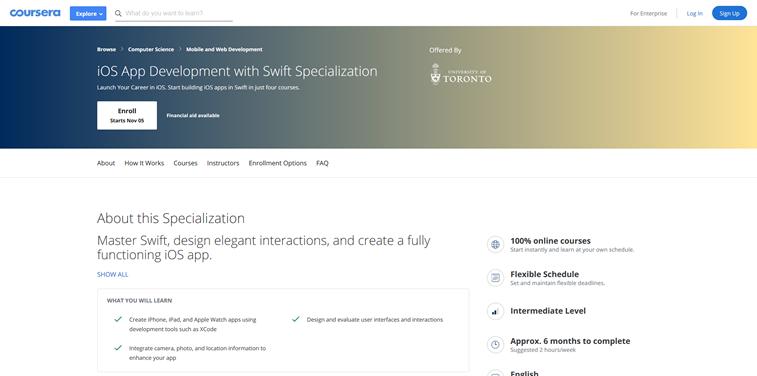 iOS app development swift coursera specialization
