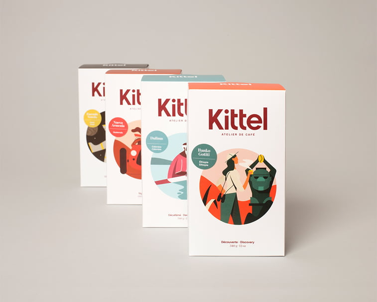 kittel coffe packaging design illustration