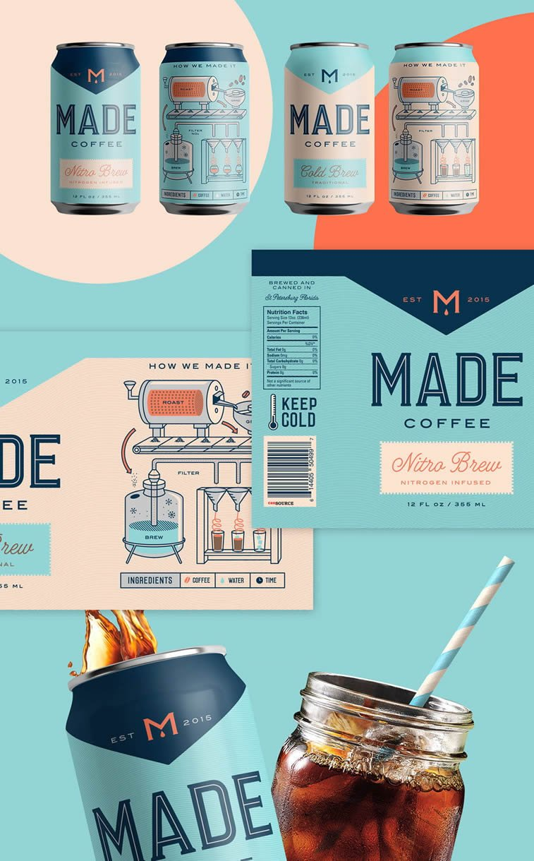 made coffee packaging design can illustration