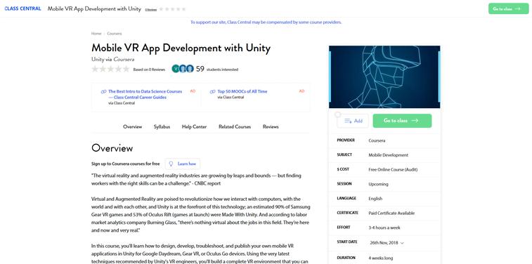 mobile VR app development unity online course