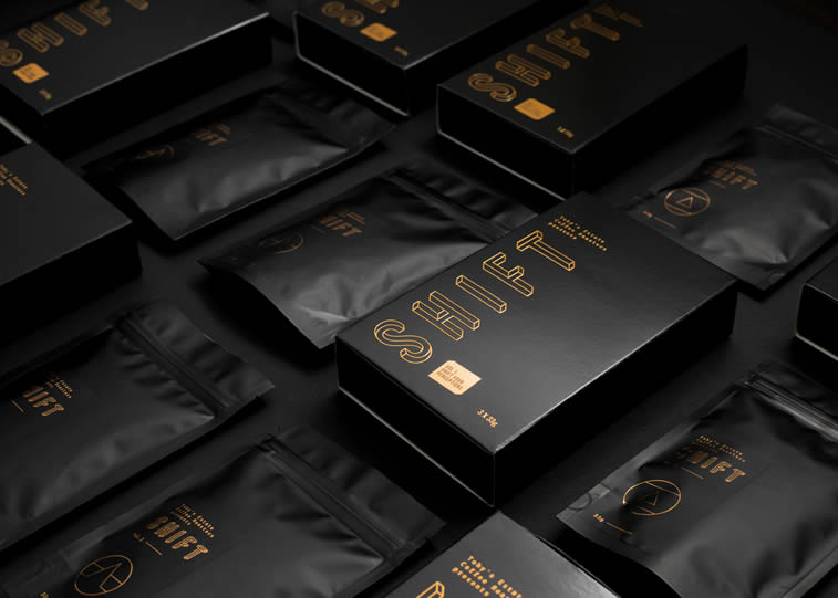 shift coffee package design black and gold