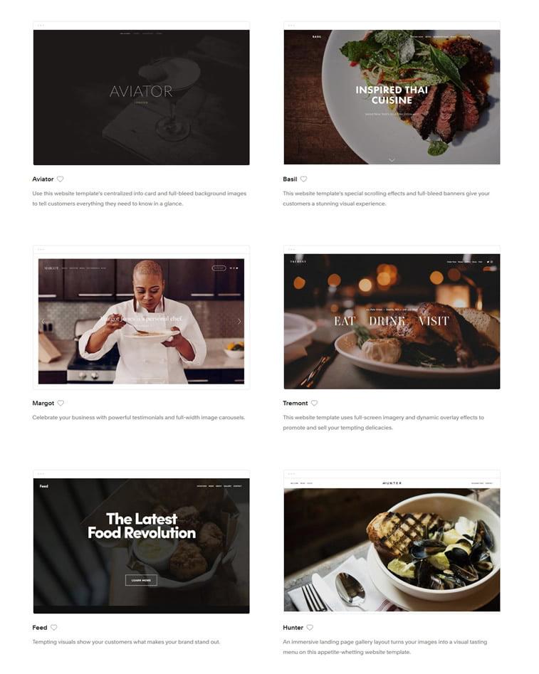 web dizajn teme izrada sajta za restoran prilagodljive teme squarespace