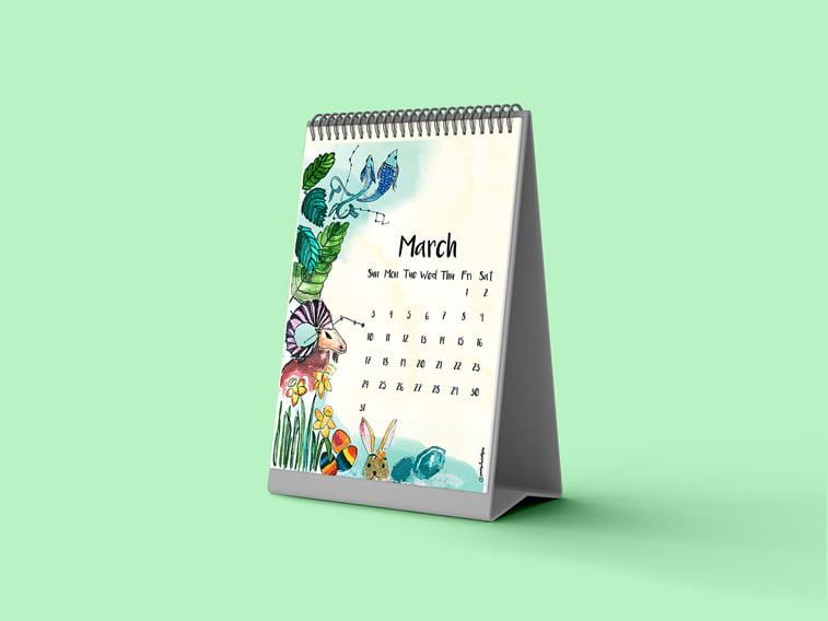 mart 2019 kalendar stoni ilustracija