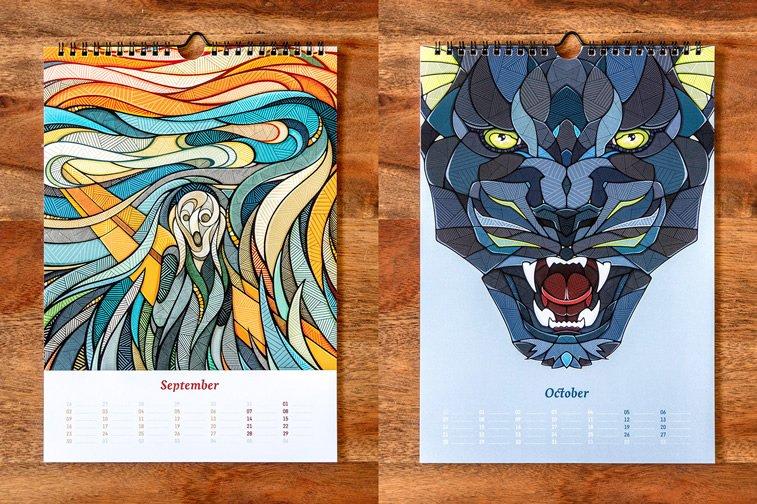 ilustrovani kalendar vrisak munk puma ilustracije