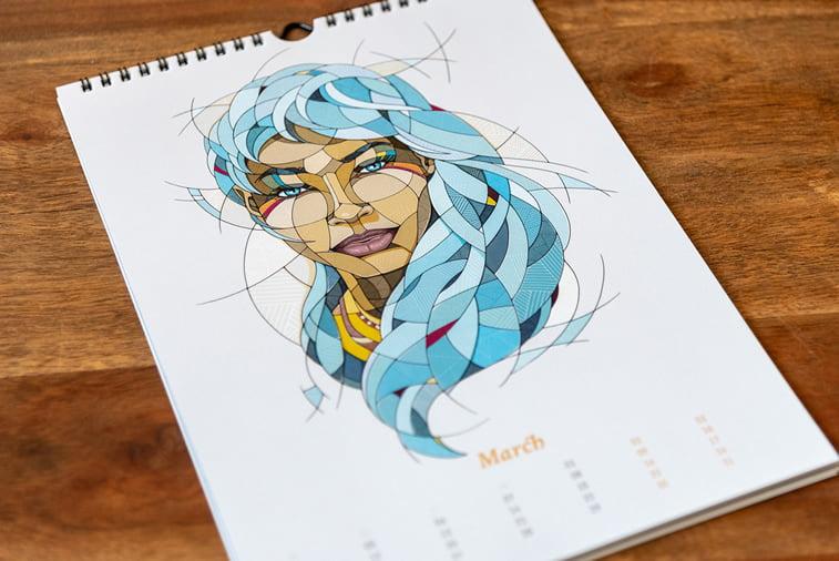 ilustrovani kalendar devojka ilustracija mart 2019