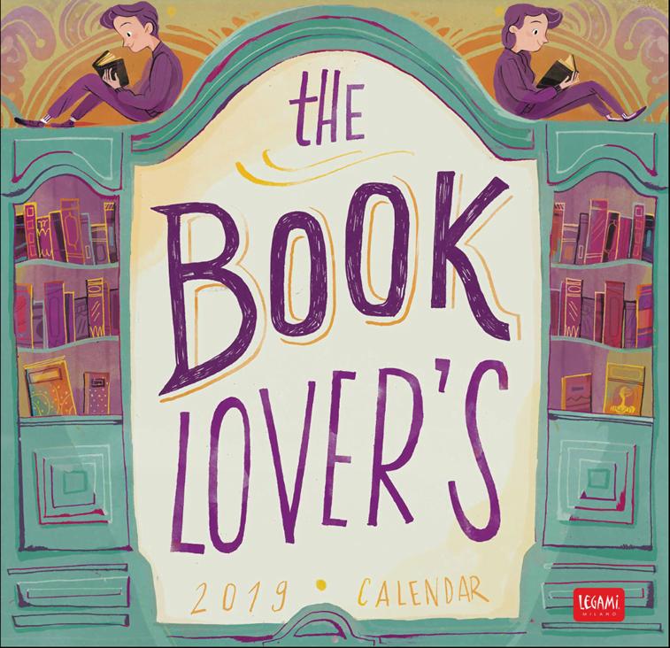 book lovers calendar citanje biblioteka ilustracija