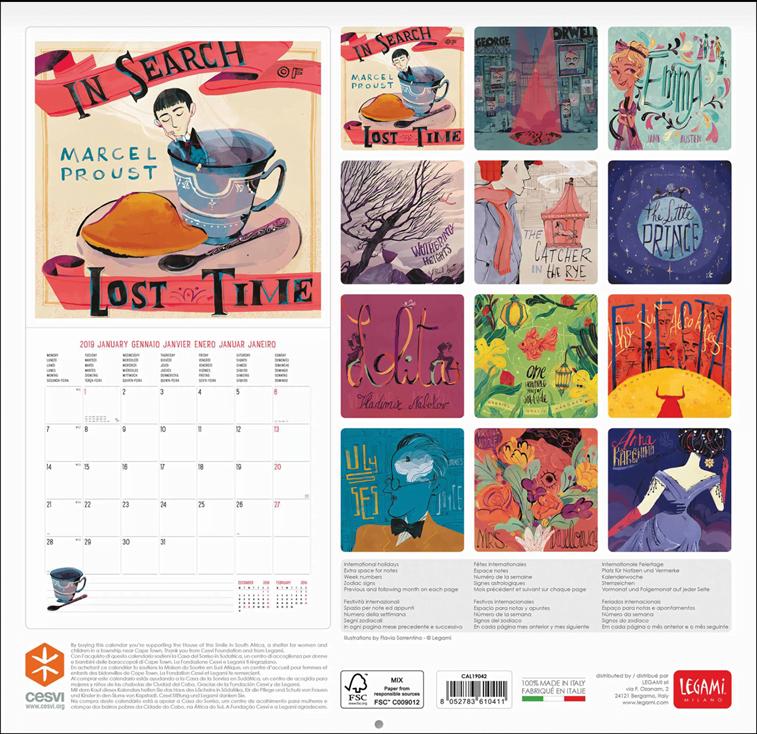 kalendar za ljubitelje knjiga 2019 ilustracije