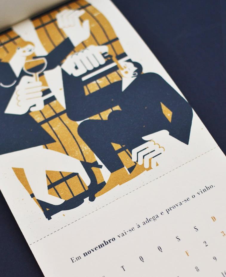 Kalendar za kompaniju Beija Floor ilustracija muskarac i zena