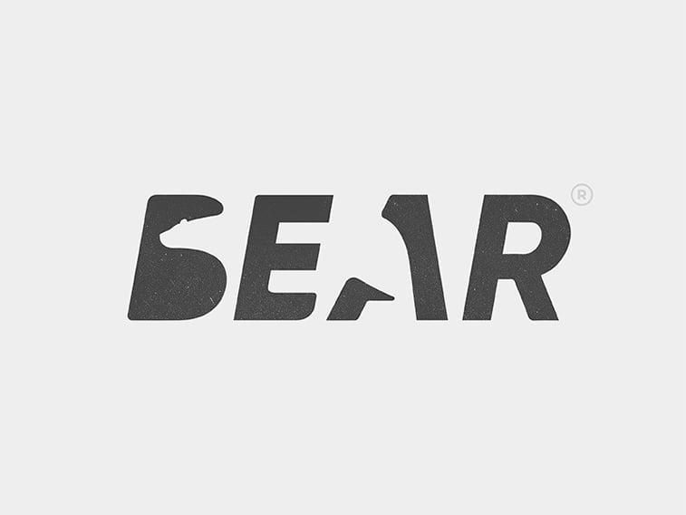 bear logo graphic design neagative space