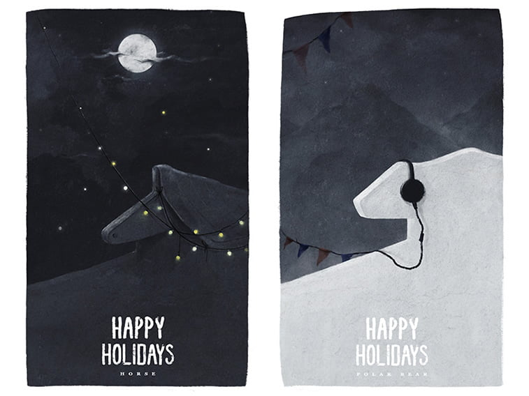 happy holidays card horse polar bear illustration