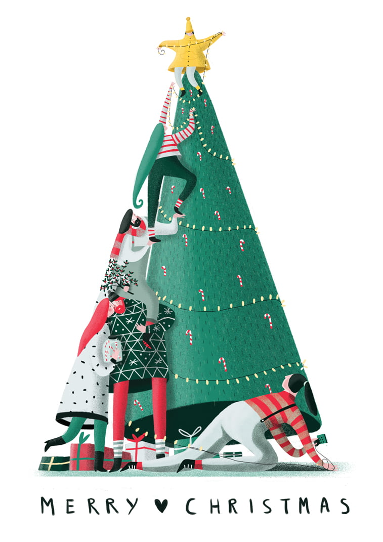 christams tree illustration character design