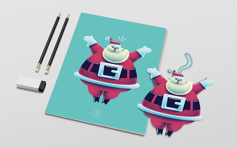 cute santa character design christmas card