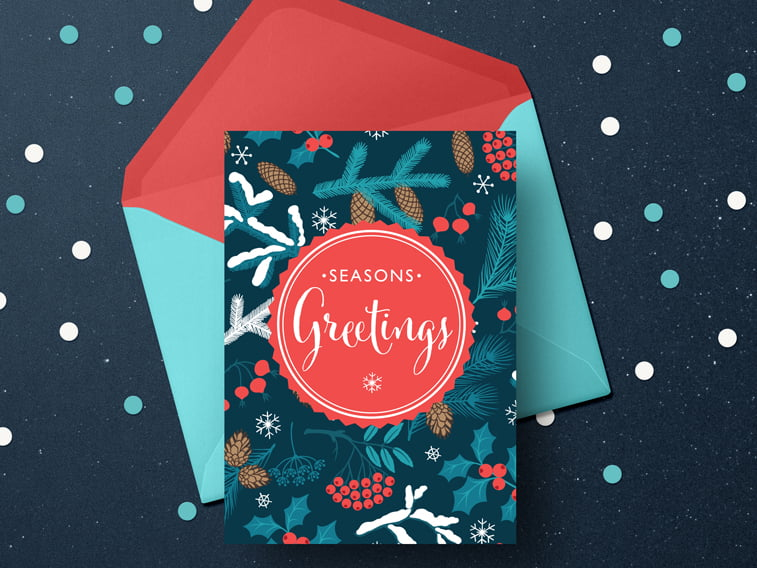 season greetings christams card design colorful