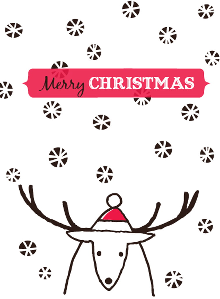 reindeer drawing christmas card design