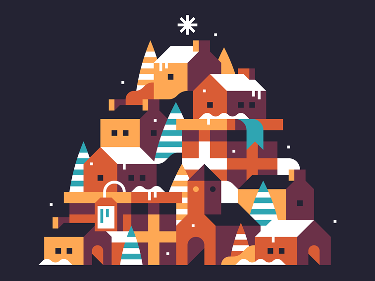 christmas card illustration town houses winter