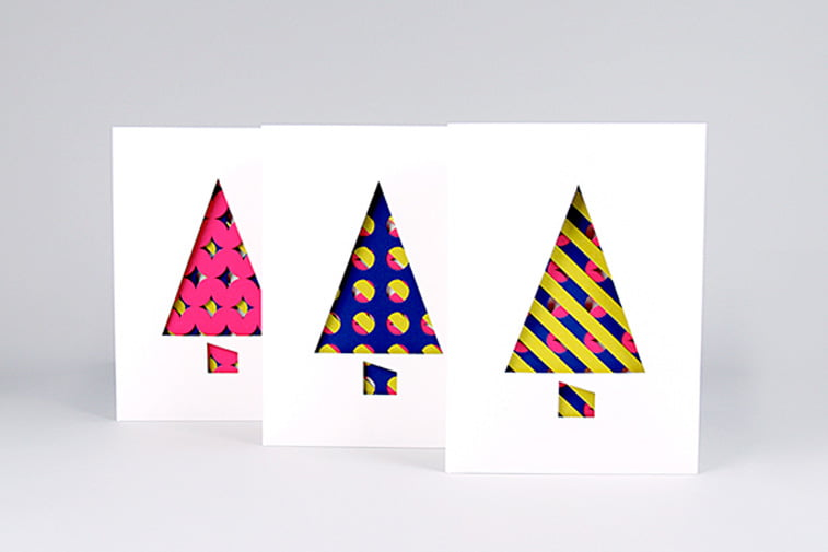 colorful pattern christmass trees card design