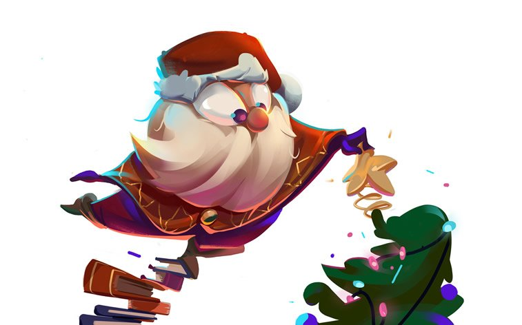 santa illustrated character christmas card design