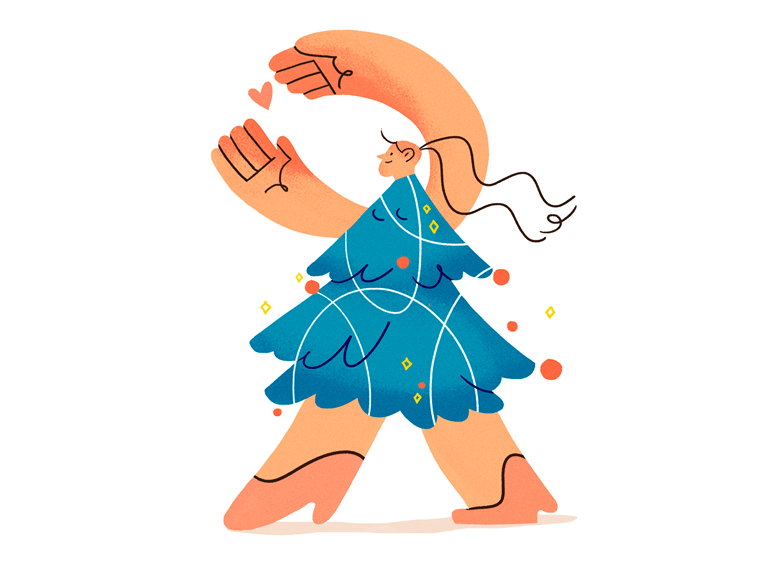 christmas tree dress character design