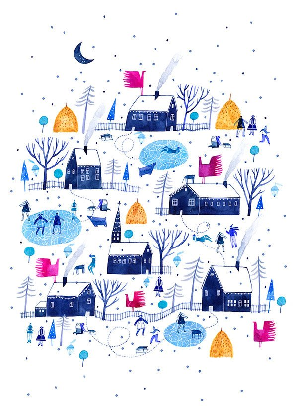 hand drawn christmas card illustration winter