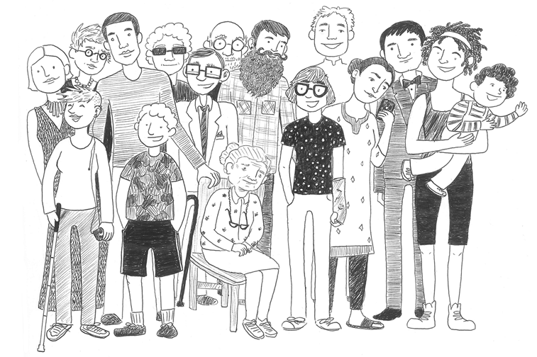 group of people with different disabilities illustration