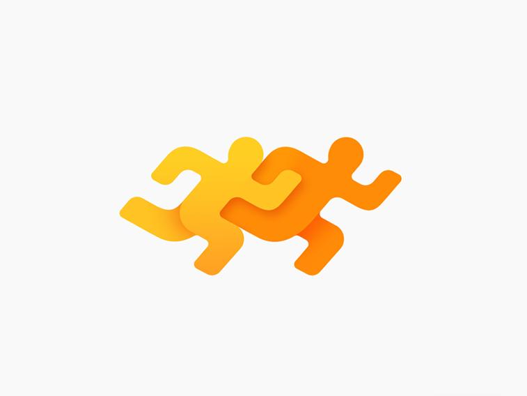 fitness app logo design running man contextual logo