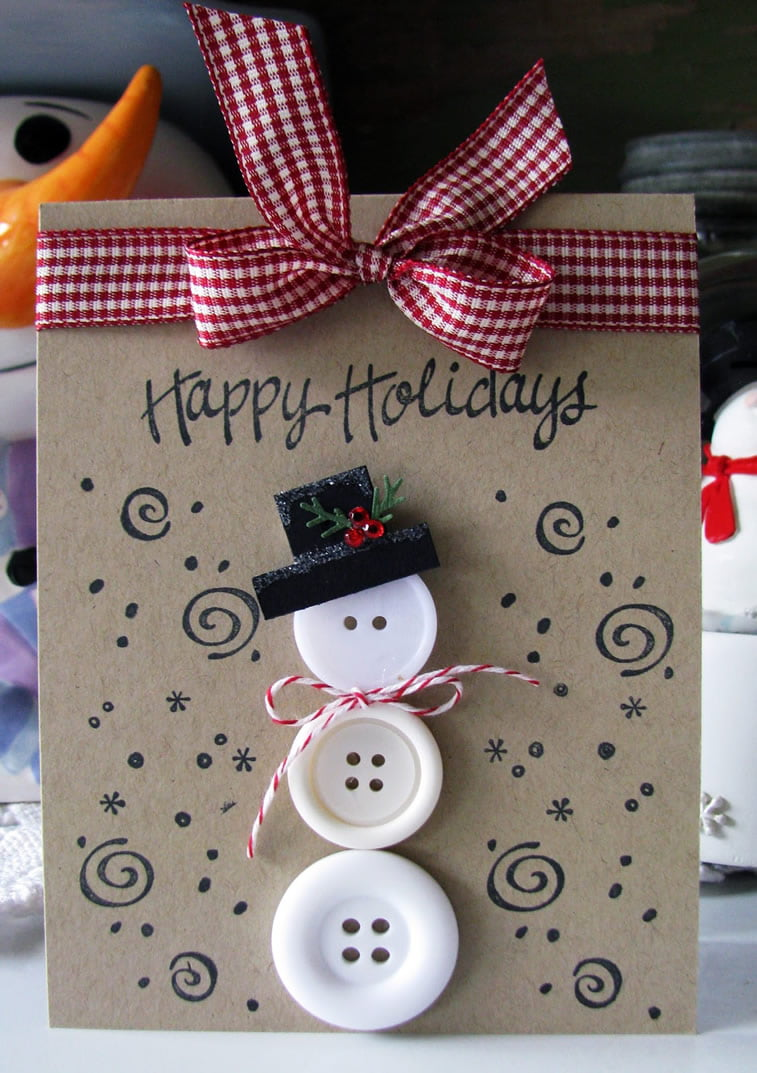 diy christmas card buttons snowman