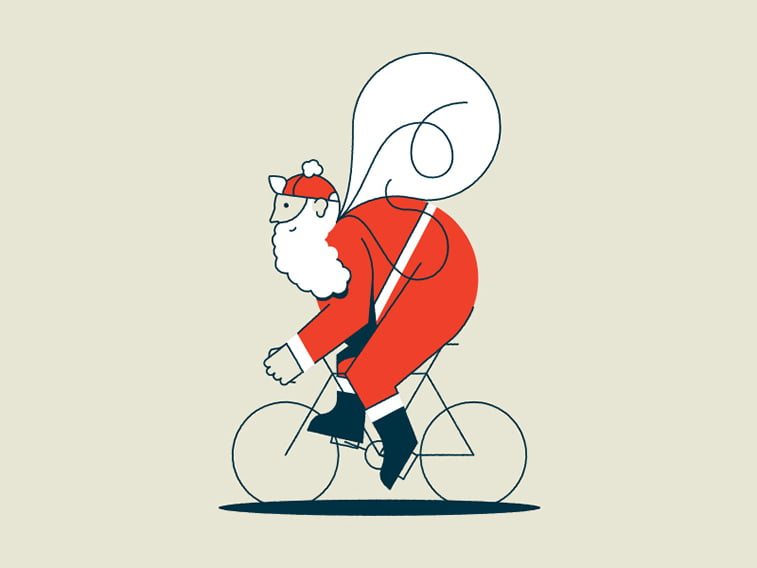 santa on bicycle illustration card design