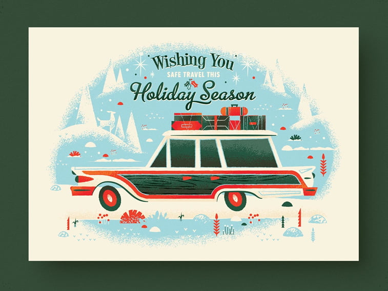 holiday season card retro style family car