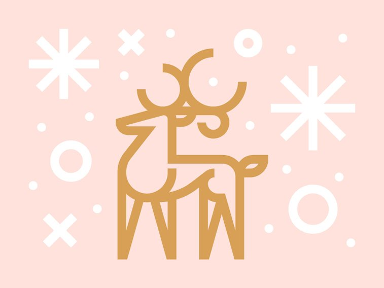 reindeer gold snowflakes shiny card