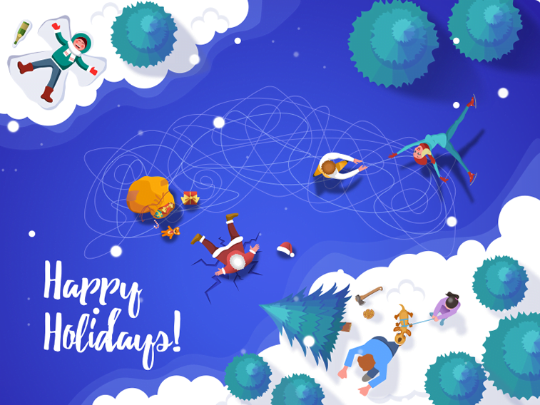 illustration birdview santa ice skating holiday card design
