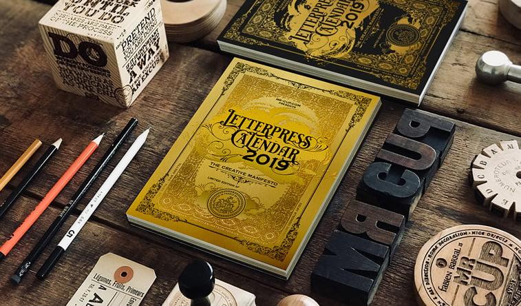 Letterpress calendar 2019 tipografija font