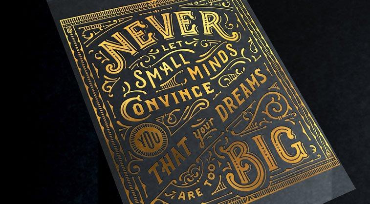 Letterpress calendar zlatna slova citat tipografija