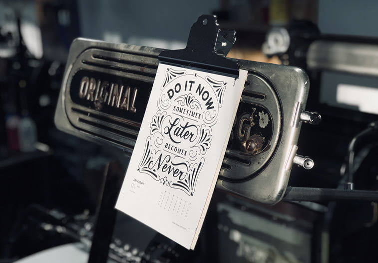Letterpress radionica kalendar citat tipografija