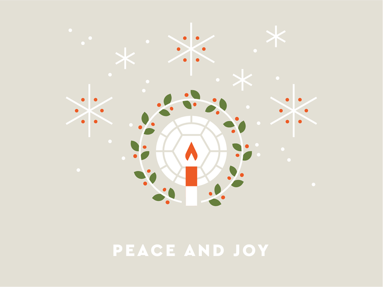 peace and joy christams card candle calm