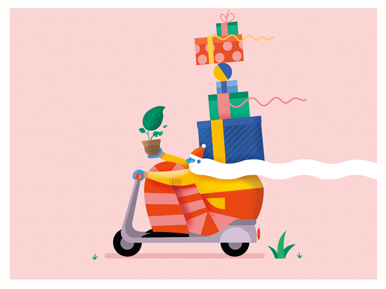 cute santa with gifts on motorbike gif animation
