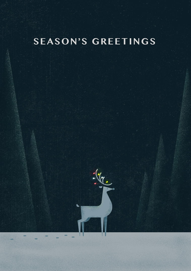 reindeer season greeting card dark background light bulbs