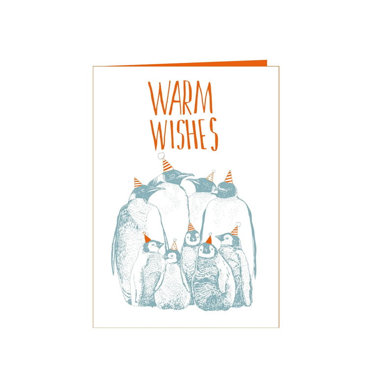 warm wishes christmas card penguins