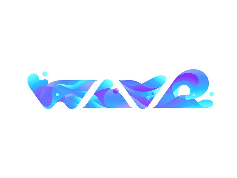 wave logo design blue gradients typography