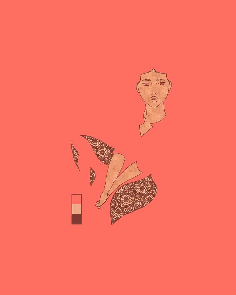 devojka sedi ilustracija living coral boja
