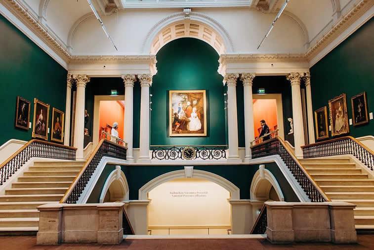 interior design stairs hall green