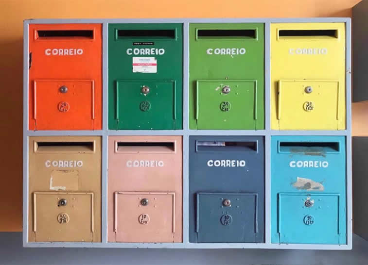 colorful post boxes