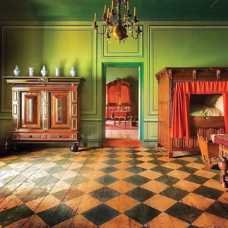 interior room doors organge green