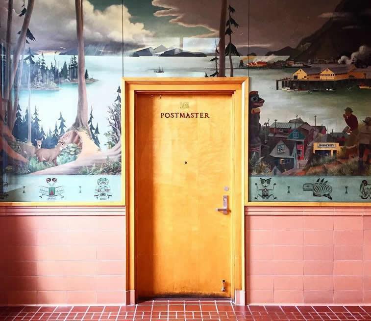 post master office door wallpaper