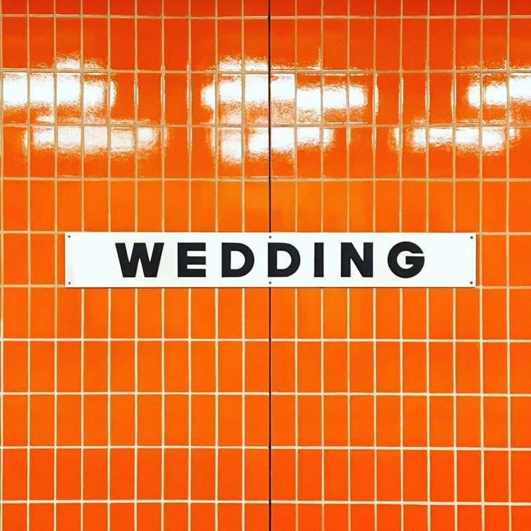 wedding letters typography orange tiles