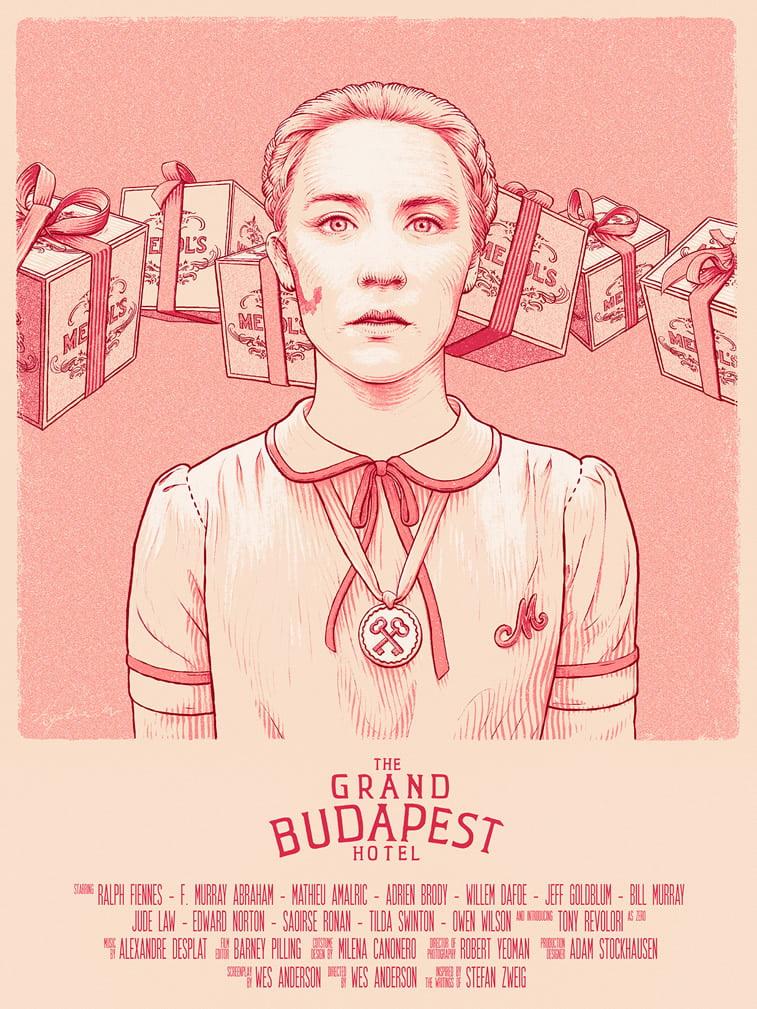 ilustracija lika Agatha plakat Grand Budapest Hotel living coral