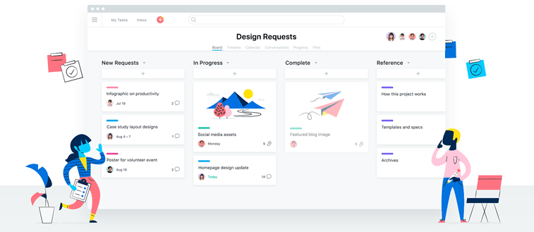 Asana homepage people interaction illustration