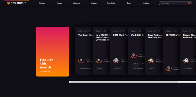 Vibrant color gradients CSS-Tricks website